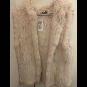 Yves Salomon pink new rabbit hooded fur vest.